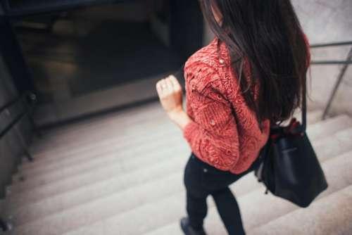 people woman girl bag walking