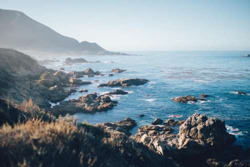 nature landscape mountain coast sea