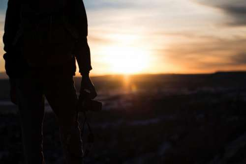 people man sunset sunlight camera