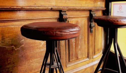 wood brown old bar stool