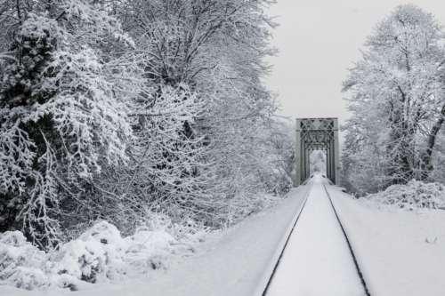 snow train tracks transport outdoors