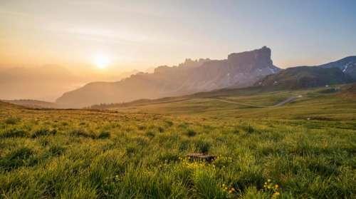 sunset landscape nature grass field