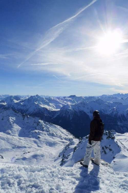 ski snowboard mountains alps view