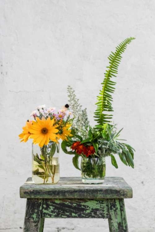 rustic flower arrangement vase background