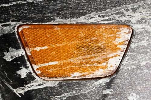 car blinker close up dirty salt