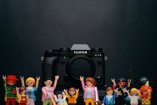 fujifilm black camera photography toy