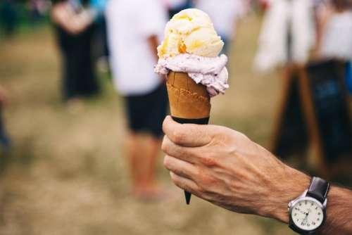 ice cream dessert hand watch flavor