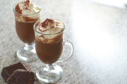 hot chocolate glass cocoa whipped