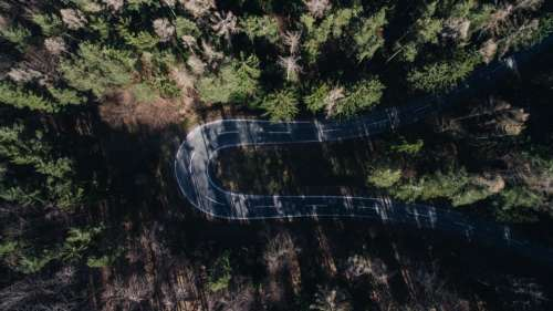 aerial view road adventure travel