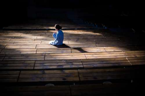 people girl alone theatre dark