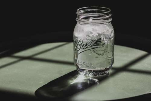 glass jar ice cold water
