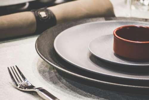 plate utensils fork table dine