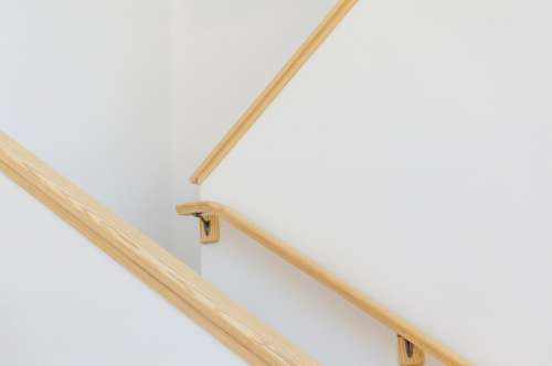 stairs staircase wood handrails white