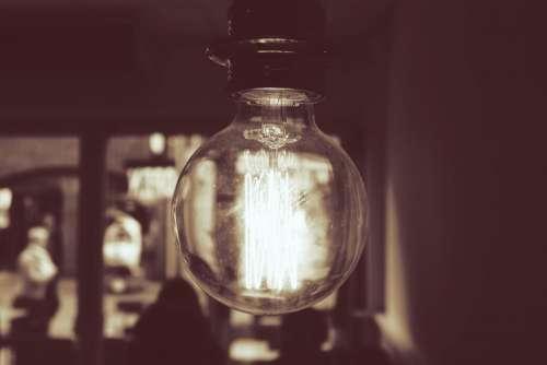 light bulb filaments interior people