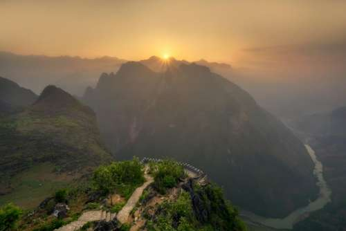 nature landscape mountains slope summit