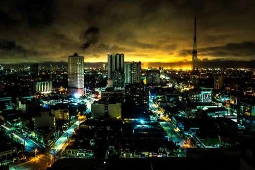 skyline city night building infrastructure