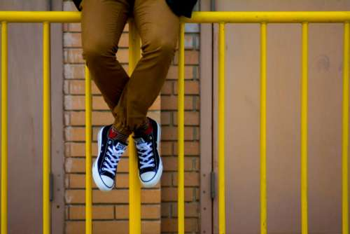 converse shoes sneakers yellow railing