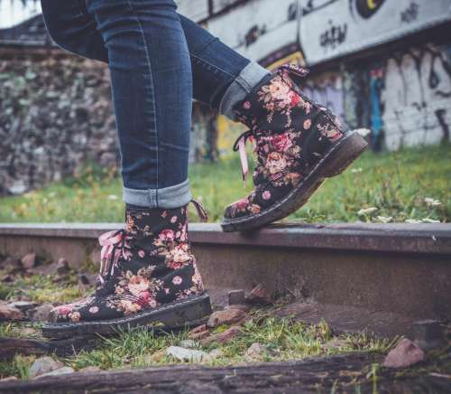 people woman fashion boots flowers