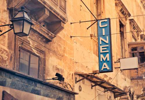 cinema sign typography retro vintage