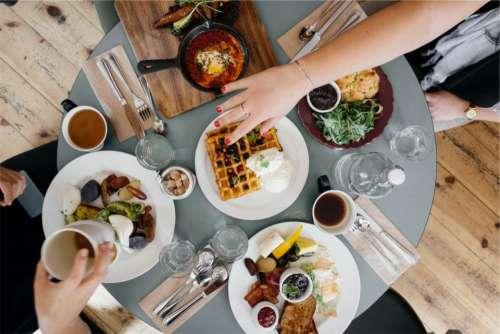 breakfast food waffles eggs bread