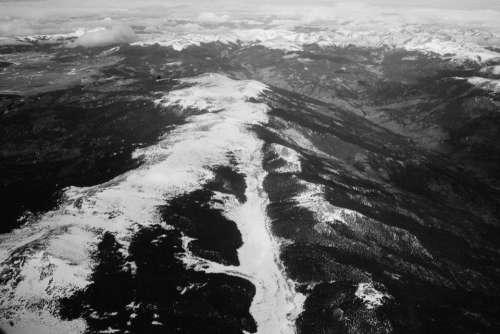 mountains peaks summit valleys snow