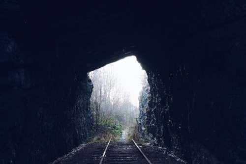 tunnel dark woods forest train