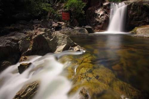 stream water falls rocks nature