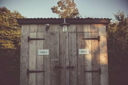 outdoor toilet cabin wood girls boys