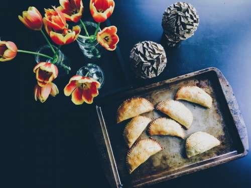 dark table food tray pie