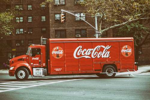 cocacola truck vintage red nyc