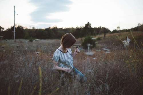 girl woman plants field grass