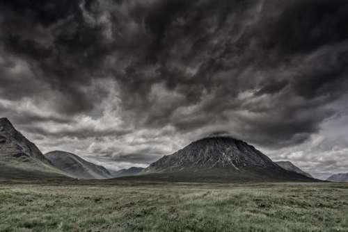 dark sky cloudy mountain highland