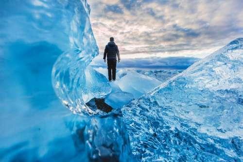 blue iceberg people man alone