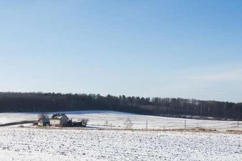 winter snow cold field rural