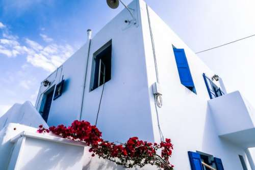 architecture white building infrastructure blue