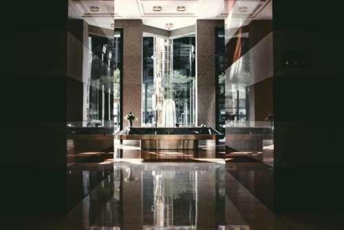 interior hotel modern glass walls