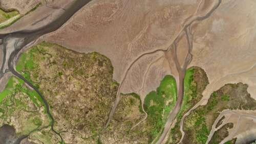 aerial sand water beach landscape