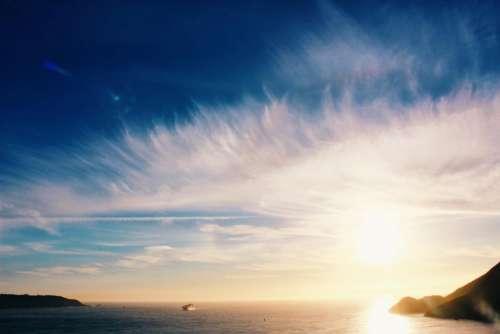 sky clouds sunset ocean sea