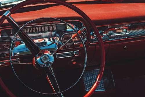 steering wheel dashboard vintage car automotive