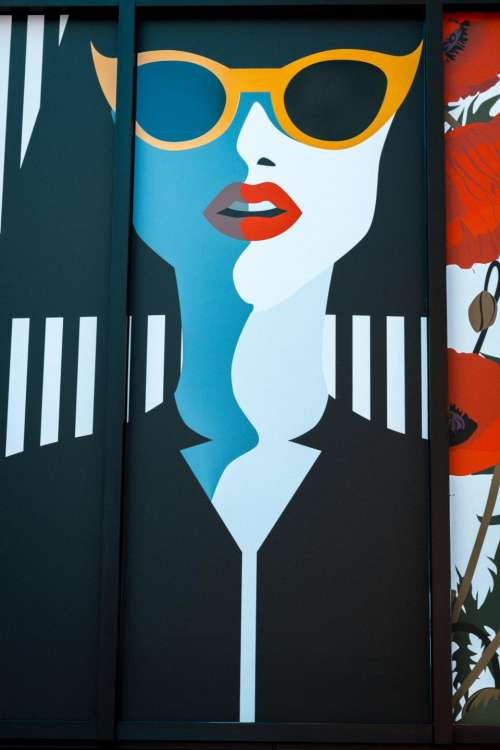 pop art girl eyeglasses wall painting