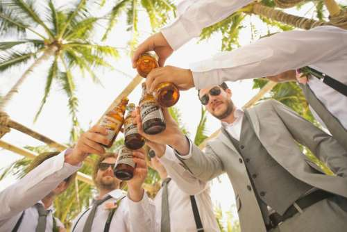 wedding groomsmen friends party celebration