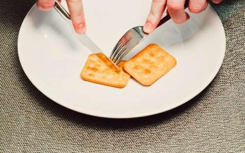 crackers snack food fork knife