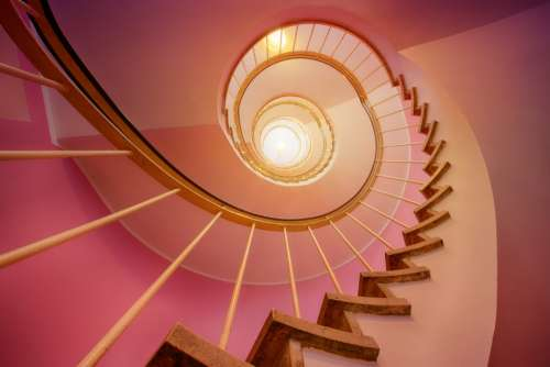 stairway light spiral pink home