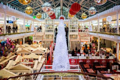shopping mall christmas christmas tree lights ball