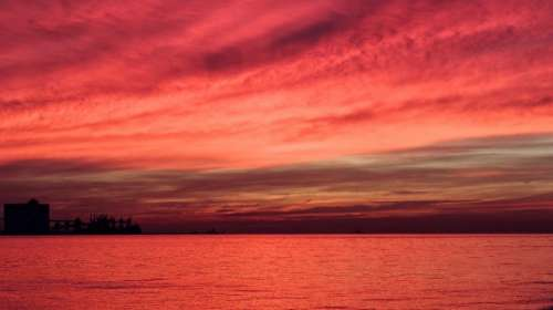 red sunset sky dusk clouds