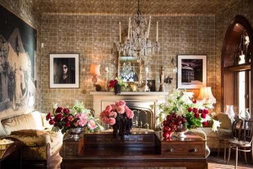 house interior design furniture flowers
