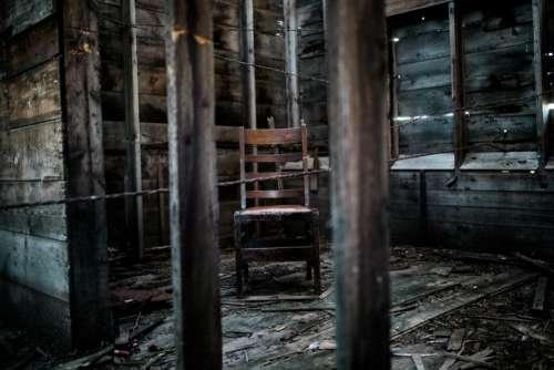 landscape woods chair empty dark