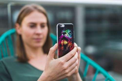 people woman phone camera technology