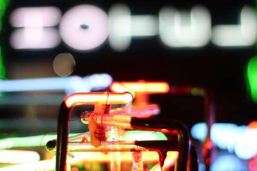 neon lights close up glow night