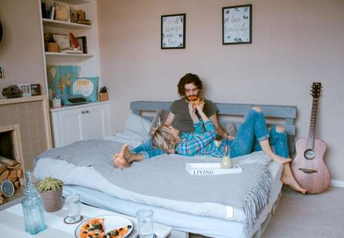 room bed indoor people couple